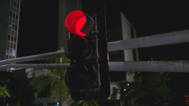 vídeos de stock, filmes e b-roll de n/x ua push in to traffic light, changes from red to green; palms visible - sinal verde semáforo de trânsito