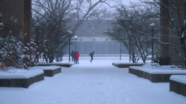 university of michigan campus, snowing, w/activity - michigan点の映像素材/bロール