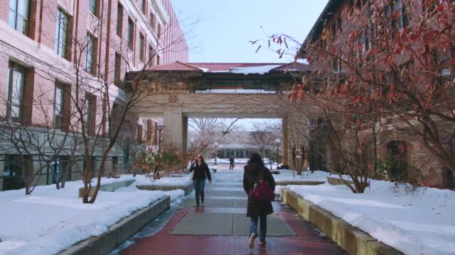 university of michigan campus, snow on ground, w/activity - michigan stock-videos und b-roll-filmmaterial