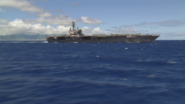 aerial of aircraft carrier ronald reagan cvn-76 at sea - aircraft carrier stock videos & royalty-free footage