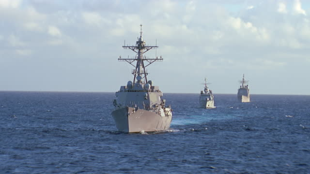 convoy of 3 navy ships at sea - convoy stock videos & royalty-free footage