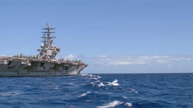 aircraft carrier uss ronald reagan cvn-76 at sea - aircraft carrier stock videos & royalty-free footage