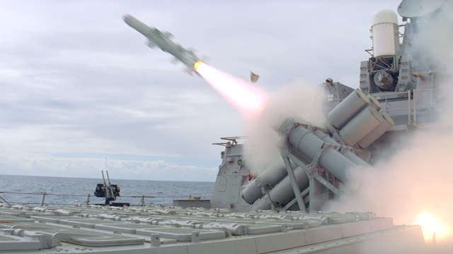 missile fires from deck of navy ship - us navy stock videos & royalty-free footage