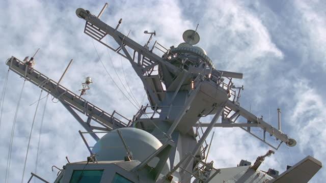 ua radar/communications mast on navy ship - radar stock videos & royalty-free footage