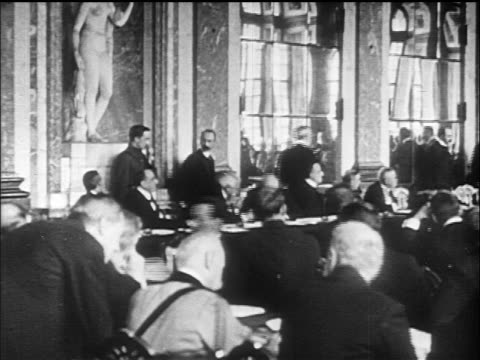 pan delegates in great hall of mirrors / versailles peace conference france / documentary - versailles video stock e b–roll