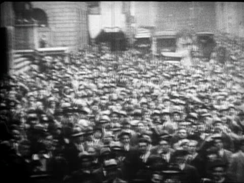 pan huge crowds on wall street after stock market crash / newsreel - 1929 stock videos & royalty-free footage