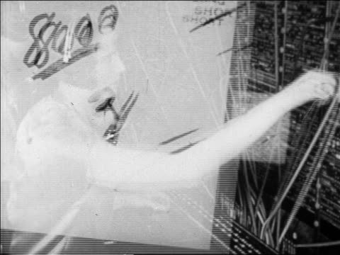 montage telephone operators with lap dissolves sell memos in foreground / newsreel - switchboard operator stock videos & royalty-free footage