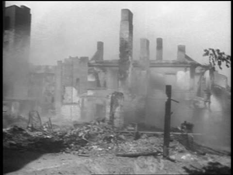PAN shelled buildings after German bombings / Warsaw Poland / documentary
