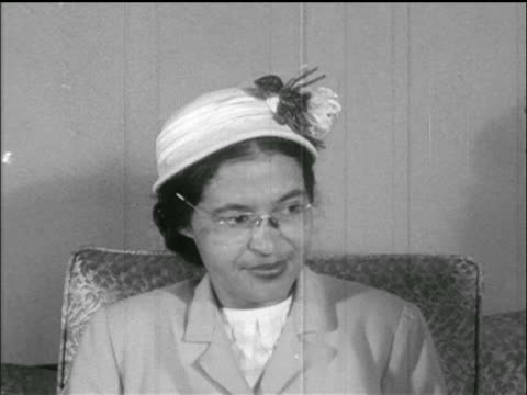 B/W 1955 seated Rosa Parks talking in interview
