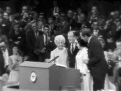 zoom in hubert humphrey, edmund muskie + wives waving at podium / democratic national convention - 1968 stock videos & royalty-free footage