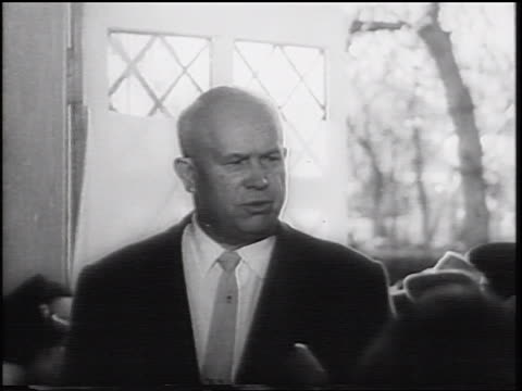 Nikita Khrushchev making speech to crowd surrounding him / after USSR shoots down U2