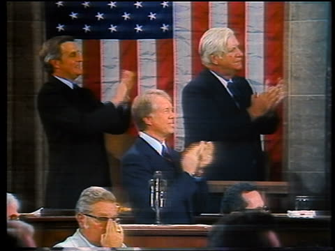 vidéos et rushes de jimmy carter walter mondale thomas o'neill clapping in congress - 1979
