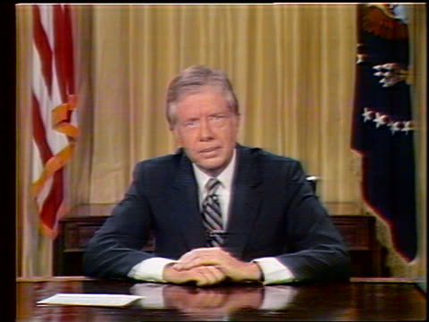 1979 zoom in to close up President Jimmy Carter making speech about conservation