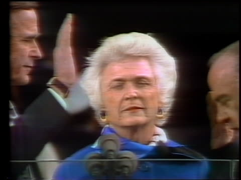 January 20 1981 close up Barbara Bush watching as George Bush takes Oath of Office as vice president