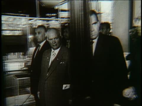 Richard Nixon walking with Nikita Khrushchev