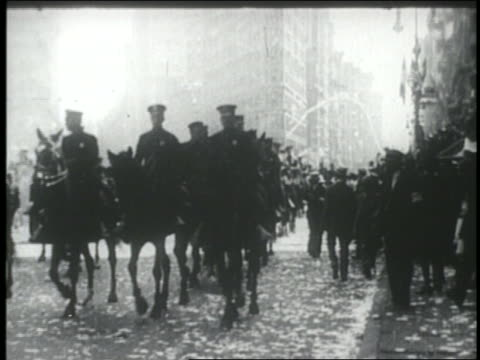 B/W 1927 mounted police on street in ticker tape parade for Charles Lindbergh / NYC