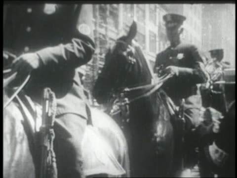 B/W 1927 mounted police in front of Charles Lindbergh's car in ticker tape parade / NYC