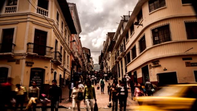 timelapse centro historico quito ecuador - ecuador stock videos & royalty-free footage