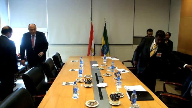 vídeos de stock e filmes b-roll de ethiopia egyptian foreign minister nahda damm talks - corno de áfrica