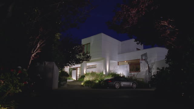 early evening very modern 2-story house - grounds stock videos & royalty-free footage