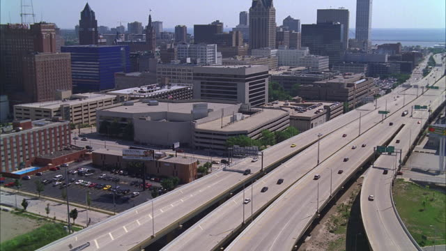 aerial milwaukee, wisconsin - great lakes stock videos & royalty-free footage