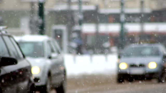 traffic in the snow, snowflake, car traffic on slippery road, - sliding stock videos & royalty-free footage