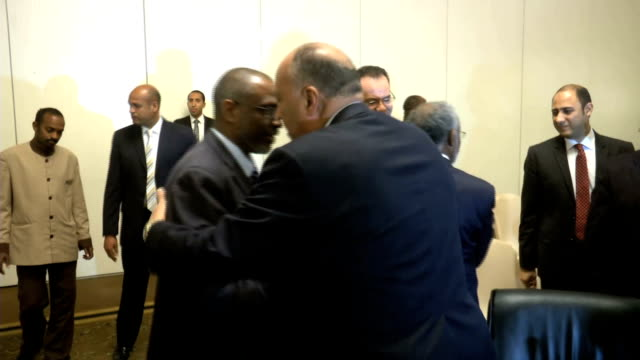 tripartite ministerial meeting foreign and water resources ministers of ethiopia egypt and sudan on the renaissance dam - renaissance stock-videos und b-roll-filmmaterial