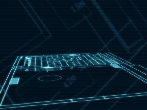 architectural blu stampe e i disegni 3d - modello dimostrativo video stock e b–roll