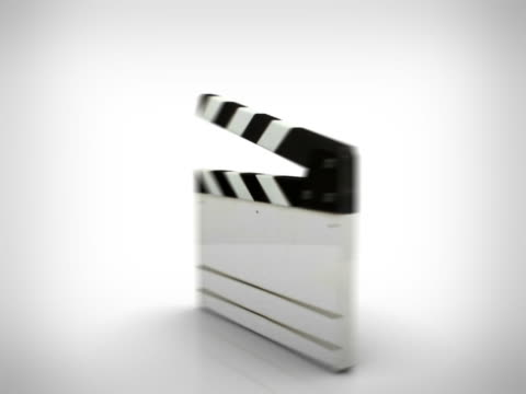 clapperboard electronic 3d rotating loop white background - clapperboard stock videos & royalty-free footage