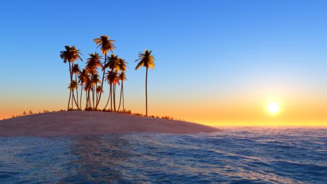alone island sunset / loop - desert island stock videos & royalty-free footage