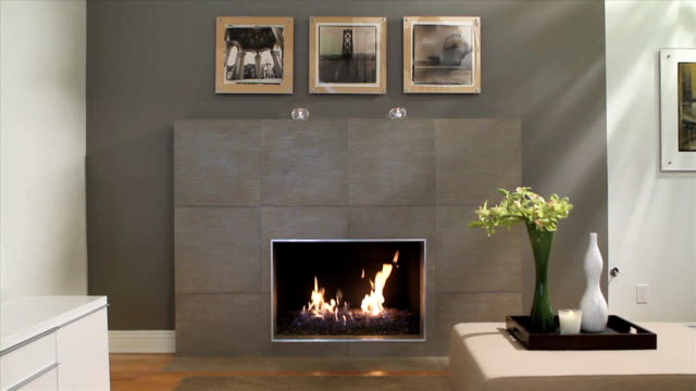 modern fireplace - living room stock videos & royalty-free footage