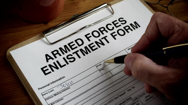 armed forces form-enlist-1080hd - military recruit stock videos & royalty-free footage