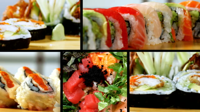 sushi montage-healthy eating - sushi stock videos and b-roll footage