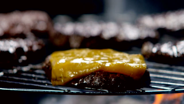 cheeseburger dropped on the grill - cheeseburger stock videos & royalty-free footage