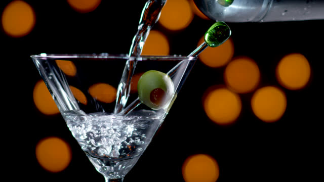 MARTINI BEING POURED-SLOW MOTION
