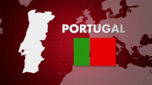 vídeos de stock e filmes b-roll de mapa de animação hd portugal - mapa múndi