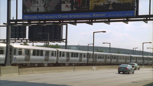 chicago o'hare international airport; el train & traffic by - illinois stock videos & royalty-free footage
