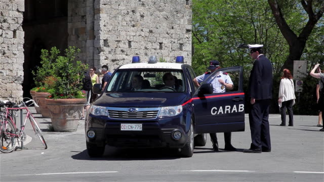 police carabinieri and car - siena italy stock videos and b-roll footage