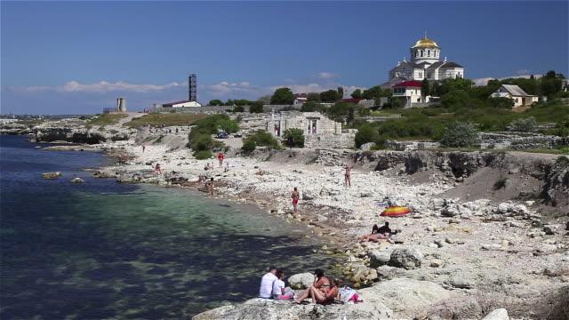 beach and saint vladimir cathedral - sevastopol crimea stock videos and b-roll footage