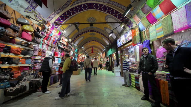 corridor inside the grand bazaar - grand bazaar istanbul stock videos and b-roll footage