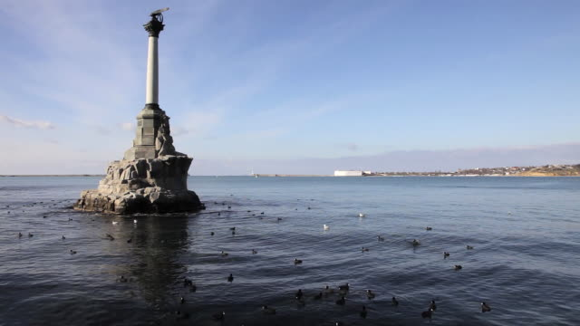 the monument to the scuttled or sunken ships - sevastopol crimea stock videos and b-roll footage