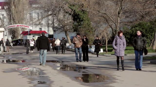people walking on promenade - sevastopol crimea stock videos and b-roll footage
