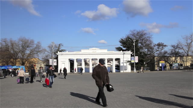 count quay colonnade and commuters - sevastopol crimea stock videos and b-roll footage