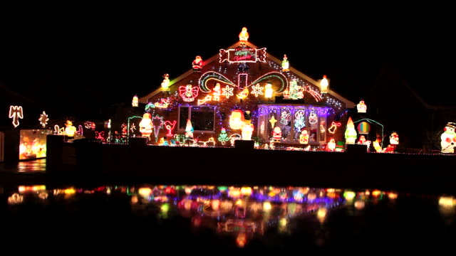 house with christmas lights - christmas lights stock videos & royalty-free footage