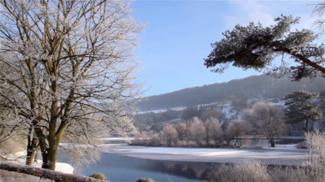 stockvideo's en b-roll-footage met frost at frozen small lake - scarborough engeland