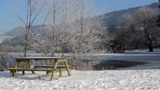 PICNIC TABLE BENCH AND FROZEN LAKE