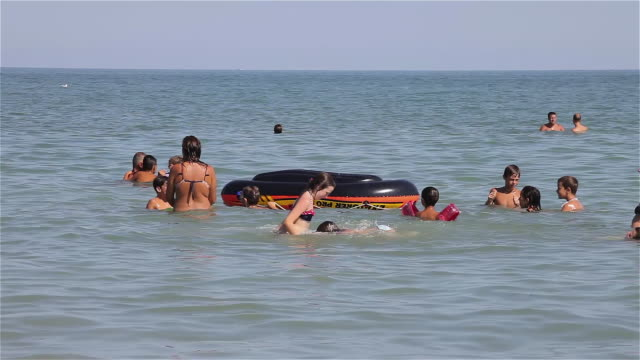 children playing in adriatic sea - adriatic sea stock videos & royalty-free footage