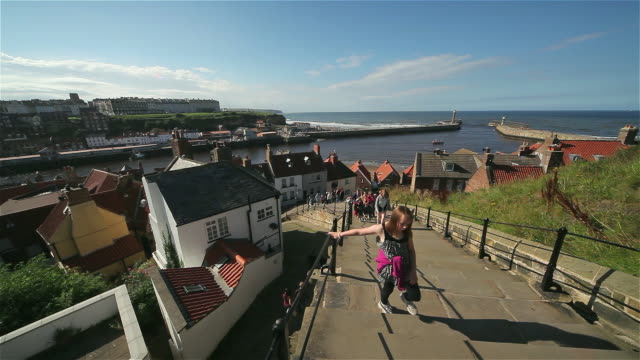 199 steps to abbey and twin piers - yorkshire england stock videos & royalty-free footage
