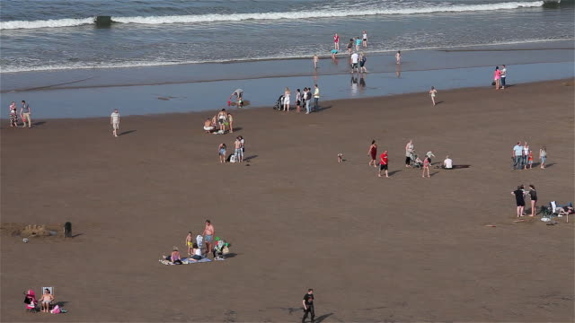 people playing in sea and on beach - whitby north yorkshire england stock videos & royalty-free footage