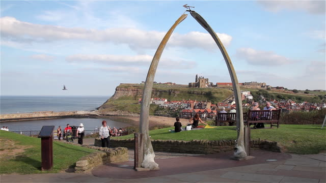 the whale jaw bone arch - yorkshire england stock videos & royalty-free footage